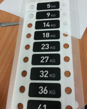 מדבקות מלבן משקל מודפסות בצבע אחד שחור