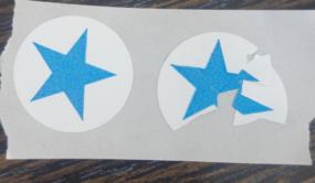 מדבקות שבירות מתפוררות ביטחוני עיגול עם הדפסה בצבע אחד